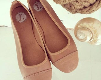 LUNAR- Ballet Flats - Leather shoes - 41- Latte. Available in different colours & sizes