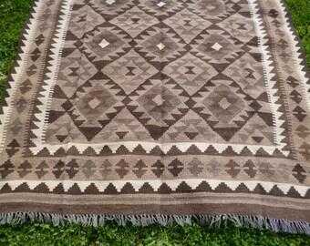 "7 ft 11""  x 5 ft 4"".  Handspun wool. Maimana hand woven Rug/Kilim.  241 x 163 cm  Tapis"