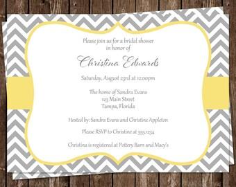 Bridal Shower Invitations, Chevron, Stripes, Yellow, Gray, White, Wedding, Set of 10 Printed Invites & Envelopes, FREE Shipping, STLOY