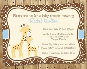 Giraffe Baby Shower Invitations, Blue, Boy, Jungle, Spotted, Aqua, Ribbon, 10 Printed Cards, FREE Shipping, GNGBL, Gentle, Customizable