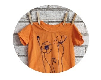 children and toddlers Poppy field short sleeved cotton crew neck tshirt in orange or custom colors.