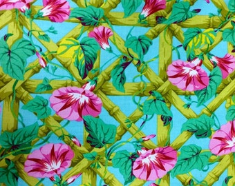Philip Jacobs Morning Glory, sky, OOP, rare, vhtf, Kaffe collective, early Westminster, floral fabric