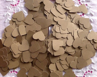 200 Kraft paper hearts confettis for a natural look wedding or a baby shower - 1 inch hearts - kraft natural brown