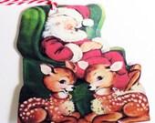 Sleeping Santa - Gift Tags - Retro Santa - Set of 3 - Santa With Deer - Retro Xmas Tags - 1950's Xmas Tags - Red And Green - Reindeer Tag