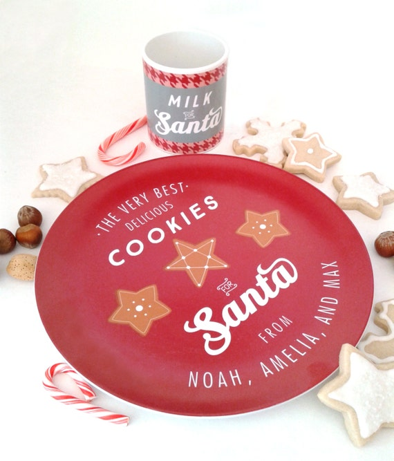 Personalized Santa Cookie Plate Kids Name Cookies for Santa Plate Mug Set Christmas Plate Milk for Santa Holiday Custom Family Gift Idea