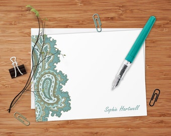 Sophie (Retro Paisley)  - Set of 8 CUSTOM Personalized Flat Note Cards/ Stationery