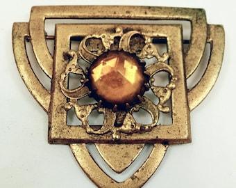 1920s Brass Stamp Art Deco Czech Glass Brooch