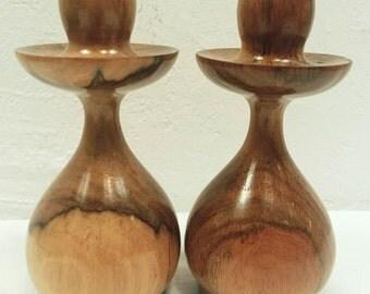 Mid Century Mod Wood Candleholder Set