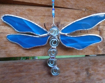 Stained Glass Dragonfly - Suncatcher -  Handmade - Gift - Birthday - Decor - Spring - Mothers Day - Fathers Day - House Warming