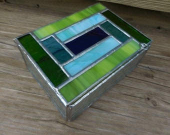 Stained Glass Box with Lid - Handmade - Green - Blue - Clear - Birthday - Mothers Day - Fathers Day - Anniversary - House Warming
