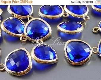 15% SALE 2 cobalt blue unique glass charms for jewelry making / glass earrings necklaces bracelets 5031G-CO (bright gold, cobalt blue, 2 pie