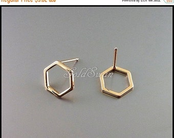 15% SALE 4 high quality shiny rose gold finish, (10mm) hexagon / honeycomb abstract geometric earrings 1074-BRG-10