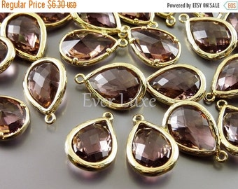 15% OFF 2 Purple brown faceted unique glass pendants / tear drop glass beads for jewelry making 5060G-PUB (bright gold, purple brown, 2 piec