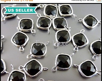 15% OFF 2 black & silver faceted glass connectors, glass crystal stones with loops 5063R-BL