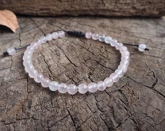 Rose Quartz Unisex Knot Anklet, 6mm beads