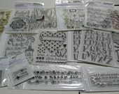 Over 15 Packages New Clear Acrylic Stamps Plus 2 Acrylic Blocks Group 1