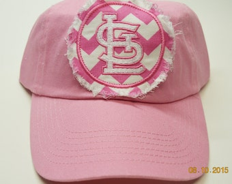 ADULT Baseball Raggy St. Louis Cardinals Pink Chevron Monogrammed Hat