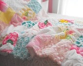 SPECIAL ORDER FOR Steiff0124 Vintage Chenille Patchwork Baby Quilt Collectible Size