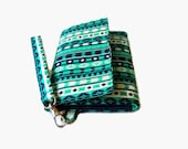 Cushioned Phone Wristlet Wallet - Padded Trifold Wallet - Turquoise iPhone Wristlet - Womens' Clutch - Padded Phone Wallet