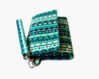Cushioned Phone Wristlet Wallet - Padded Trifold Wallet - Turquoise Phone Wristlet - Womens' Clutch - Padded Phone Wallet