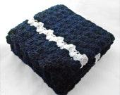 Crocheted Baby Blanket in solid navy blue with a white line in top and bottom / baby boy blanket / blue nursery