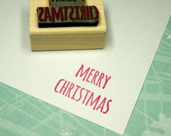 Merry Christmas Rubber Stamp - Skinny Font Sentiment Text Small - Stocking Stuffer Filler - Christmas Gift - Crafter Gift - Christmas Card