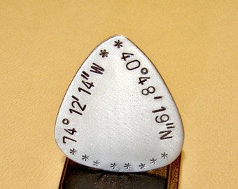 Latitude longitude guitar pick handmade in aluminum and personalized with your coordinates - GP216
