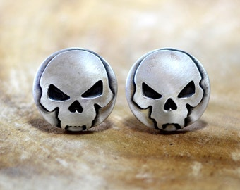 Sterling silver skull artisan handmade cuff links for a wicked bad ass fashion statement - CL883