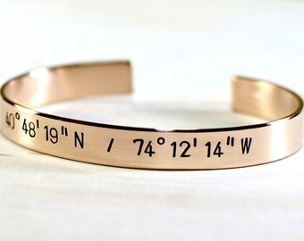 Party Favor Latitude longitude cuff bracelet in bronze with your own coordinates - BR016