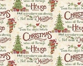 Twas the Night Before XMAS fabric--Nice Holiday Decor Fabric--Hard Find-- LAST Piece