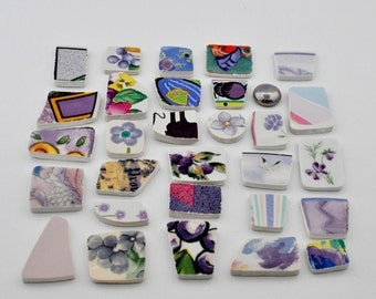 Broken China Mosaic Tiles - Shades of Purple - Assortment - Cabochon Collection - Set of 30