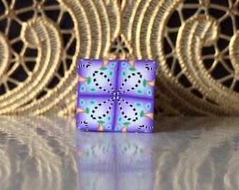 Polymer Clay Kaleidoscope Cane Purple, Gold, White, Black, Green No. 1053