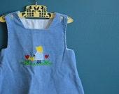 Vintage Blue Corduroy Jumper with Sunbonnet Girl and Ricrac Appliques - Size 18-24 Months
