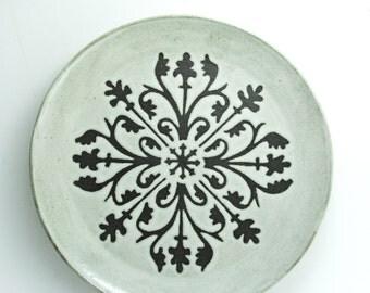 """9.5"""" Dinner Plate, Design: Elizabeth, Antique White Glaze- MADE TO ORDER"""