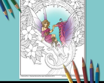 Coloring Page, Fantasy, Dragon Coloring Pages, Adult Coloring Pages, Printable Coloring Pages