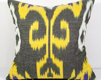 15x15 ikat pillow cover, yellow pillow, yellow pillows, ikat pillow case, decorative pillow, ikat pillows, ikats, ikat fabrics, yellow ikats