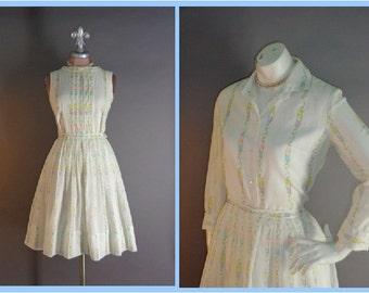 50s dress vintage 1950s PASTEL FLOWERS DOTS cotton 2 tops shirt and full skirt 3pc dress set