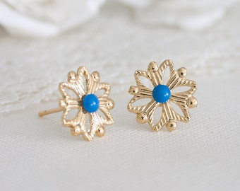 Blue stud earrings, Blue studs, Blue earrings, Blue earring studs, Small blue earrings, Dainty blue earrings