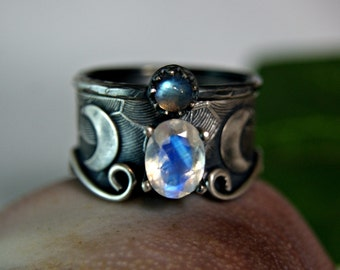 Rainbow Moonstone Wedding Set, Moon Goddess, Celestial Jewelry, Sterling Silver Wide Band Engagement Ring