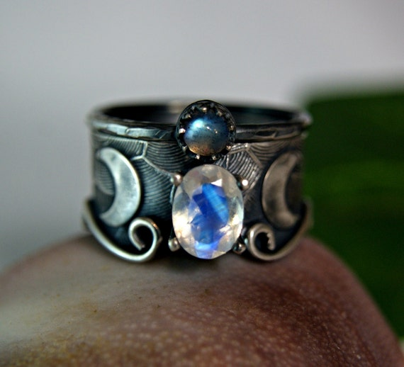 Celestial Bands: Rainbow Moonstone Wedding Set Moon Goddess Celestial