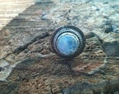 Handstamped Sterling Silver and Copper Moonstone Ring sz 7.5