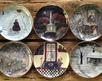 6 Carol Endres VISITORS Collector Decorative Plate Series. Complete set of Franklin Mint Heirloom Recommendation Primitive folk art cottage.