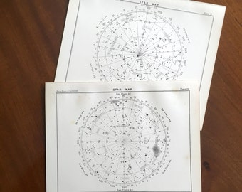 1892 STAR MAP LITHOGRAPHS - original antique prints - celestial astronomy star charts -  plates 51 & 70 - set of 2 lithographs