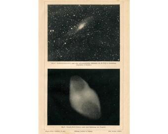 1894 ANTIQUE NEBULA LITHOGRAPH original antique celestial astronomy print no. 3 - dumb bell & andromeda nebulae