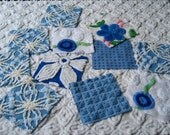 """Cool Blues and White  6"""" Square Assortment of Vintage Chenille Bedspread Fabrics (11)"""