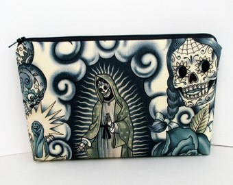 Contigo Tattoo, Make-up Zipper Pouch, Day of the Dead Skull Pouch