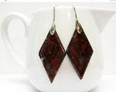 SALE Dinosaur Jasper Earrings - Gemstone Earrings - Diamond Shaped Jasper Earrings - Reddish Brown Earrings - Jasper Jewelry - Womens Jewelr