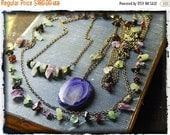 INDIGO RAPIDS. Purple Druzy Agate Eye, Amethyst, Tourmaline, Black Onyx, Garnet, Green Aventurine Necklace Set. Neck Art ensemble Handmade
