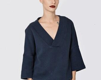 Dark blue V neck line sweatshirt-long sleeve top - warm sportive top - loose shirt - oversiz sweatshirt- loose top - cotton tops - VNBlouse