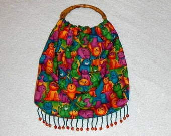 Bamboo Handled Purse Tote Bag Handmade Cats and Kittens With Beaded Fringe